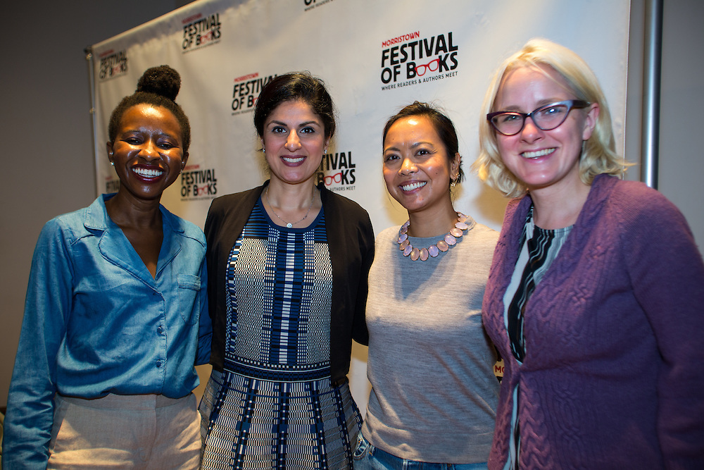 The Global View in Fiction with Mia Alvar, Nadia Hashimi, Imbolo Mbue and moderator Michele Filgate at the 2016 Morristown Festival of Books, Morristown, N.J., 10/1/16.