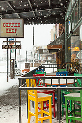 """Downtown Truckee 43"" - Photograph of historic Downtown Truckee, California shot during a snow storm."