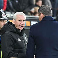 Football - 2017 / 2018 Premier League - Swansea City vs. West Bromwich Albion<br /> <br /> West Bromwich Albion manager Alan Pardew talks with Swansea City manager Paul Clement before the game , at The Liberty Stadium.<br /> <br /> COLORSPORT/WINSTON BYNORTH