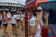 Members of the United States women's water polo team meet friends and fans after making a TV appearance on NBC's Today show broadcast live from the Olympic Park during the London 2012 Olympics, and the morning after winning the gold medal match against Spain.