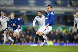 LIVERPOOL, ENGLAND - Monday, January 19, 2015: Everton's Kevin Mirallas looks dejected after missing a penalty kick against West Bromwich Albion during the Premier League match at Goodison Park. (Pic by David Rawcliffe/Propaganda)