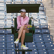 March 7, 2015, Indian Wells, California:<br /> Lindsay Davenport sits in the umpire's chair during a practice session at the Indian Wells Tennis Garden in Indian Wells, California Saturday, March 7, 2015.<br /> (Photo by Billie Weiss/BNP Paribas Open)