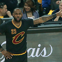 12 June 2017: Cleveland Cavaliers forward LeBron James (23) is seen during the Golden State Warriors 129-120 victory over the Cleveland Cavaliers, in game 5 of the 2017 NBA Finals, at the Oracle Arena, Oakland, California, USA.