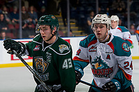 KELOWNA, CANADA - JANUARY 9:  Kyle Topping #24 of the Kelowna Rockets back checks Connor Dewar #43 of the Everett Silvertips on January 9, 2019 at Prospera Place in Kelowna, British Columbia, Canada.  (Photo by Marissa Baecker/Shoot the Breeze)