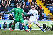 Southend United Goalkeeper Mark Oxley (1) and Portsmouth Forward  Oliver Hawkins (9) in action during the EFL Sky Bet League 1 match between Southend United and Portsmouth at Roots Hall, Southend, England on 17 February 2018. Picture by Stephen Wright.
