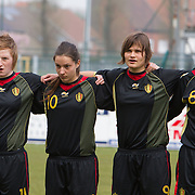 21120413 - HARELBEKE, BELGIUM : Silke Leynen (11), Shayna Raekelboom (10), Lotte Aertsen (9), Sofie Huyghebaert (8) from Belgium are pictured here  during the Second qualifying round of U17 Women Championship between Switzerland and Belgium on Friday April 13th, 2012 in Harelbeke, Belgium.