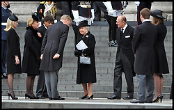 HM The Queen and Duke of Edinburgh speak to members of Lady Thatcher's family on the steps of St Paul's Cathedral. After Lady Thatcher's funeral, following her death last week, London, UK, Wednesday 17 April, 2013, Photo by: Andrew Parsons / i-Images<br /> <br /> File photo - One year ago: Baroness Thatcher died.<br /> On Tue, Apr 8 2014 it will be one year since the Longest-serving UK Prime Minister of the 20th century, the first and only woman to serve in the role to date, died on April 8, 2013  after suffering a stroke.