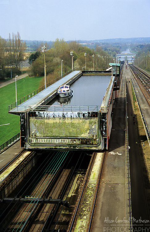 The inclined plane boat lift at Ronquieres, or sloping lock, raises and lowers boats and barges 68m or 223ft in about 90 minutes on the Brussels - Charleroi canal on a system of rails.