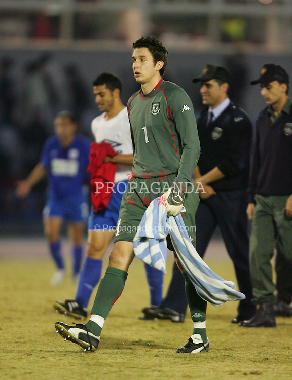 LIMASSOL, CYPRUS - WEDNESDAY, NOVEMBER 16th, 2005: Wales' goalkeeper Lewis Price walks off dejected after losing 1-0 to Cyprus during the International Friendly match at the Tsirio Stadium. (Pic by David Rawcliffe/Propaganda)