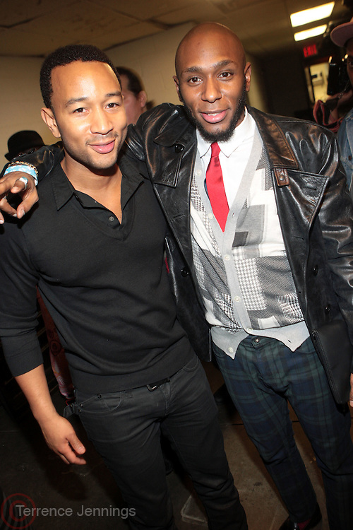 l to r: John Legend and MOS DEF at The OkayPlayer Holiday Jammy Produced by Jill Newman Productions held at BB KINGS on Decemeber 16, 2009