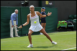 British Player Heather Watson loses to Madison Keys from the USA during the Wimbledon Tennis Championships<br /> Tuesday, 25th June 2013<br /> Picture by Andrew Parsons / i-Images