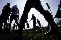 Jena , 080406 , Fussball Regionalliga FC Carl Zeiss Jena - FC St.Pauli Die Mannschaften laufen in das Ernst Abbe Sportfeld ein