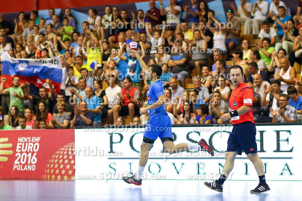 Mario Sostaric of Slovenia during handball match between National Teams of Slovenia and Latvia in Qualification of 2016 Men's European Championship, on June 13th, in Rdeca Dvorana, Velenje. Photo by Morgan Kristan / Sportida