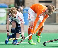 ROTTERDAM -    Floris de Bie (r)  (Neth)  with James Hunt (l)  (Eng).     Practice Match  Hockey : Netherlands Boys U16  v England U16 . COPYRIGHT KOEN SUYK