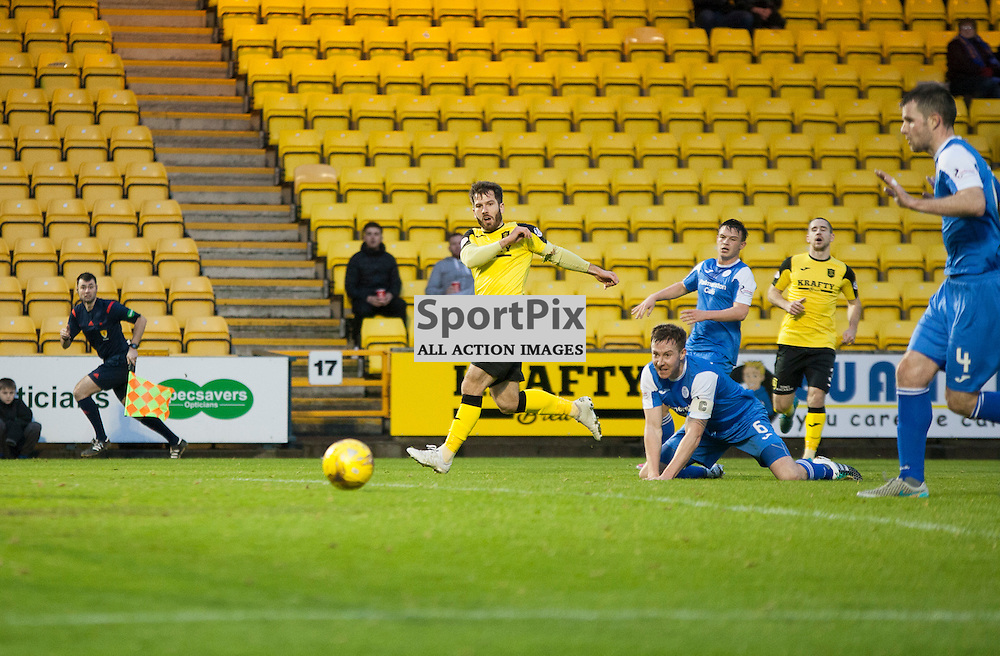 Livingston v Queen of the South, Scottish Championship, 2 January 2016, Liam Buchanan (Livingston, 19) drags a shot wide during the Livingston v Queen of the South Scottish Championship match played at the Toni Macaroni Arena, © Chris Johnston | SportPix.org.uk