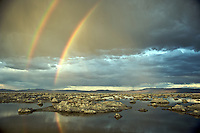 A double rainbow appears after a summer thunderstorm over Mono Lake.