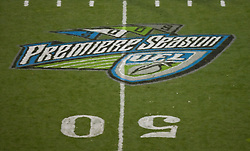 October 17, 2009; San Francisco, CA, USA;  UFL Premiere Season logo painted at midfield for the New York Sentinels at Calfornia Redwoods game at AT&T Park. California won 24-7.