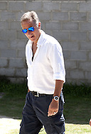 Italian TV personality Paolo Bonolis pictured during Italy training at Portobello Resort, Natal<br /> Picture by Stefano Gnech/Focus Images Ltd +39 333 1641678<br /> 22/06/2014