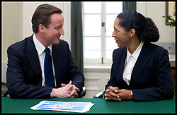 Leader of the Conservative Party David Cameron with Helen Grant, Member of Parliament for Maidstone and The Weald in his office in Norman Shaw South, January 18, 2010. Photo By Andrew Parsons / i-Images.