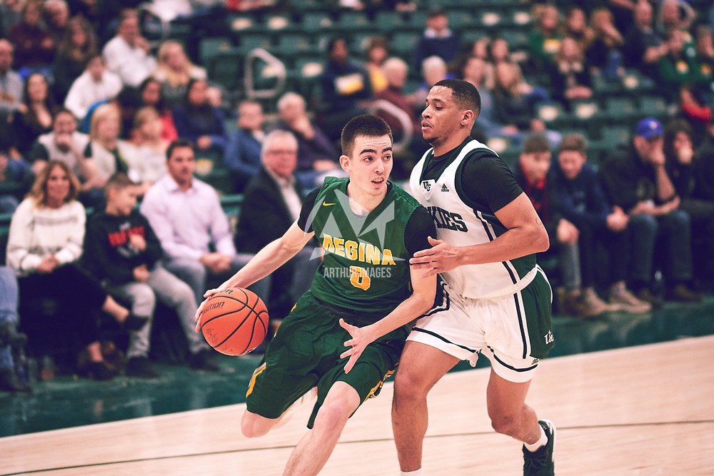 3rd year guard, Benjamin Hillis (8) of the Regina Cougars during the Men's Basketball Home Game on Sat Feb 02 at Centre for Kinesiology,Health and Sport. Credit: Arthur Ward/Arthur Images