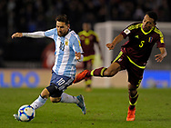 Argentina's forward Lionel Messi during their 2018 FIFA World Cup qualifier football match against Venezuela,  at Monumental stadium, in Buenos Aires, on September 5, 2017.
