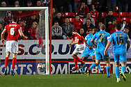 Richard Wood of Charlton Athletic (15) misses a clear header on goal during the Sky Bet Championship match at The Valley, London<br /> Picture by David Horn/Focus Images Ltd +44 7545 970036<br /> 15/04/2014