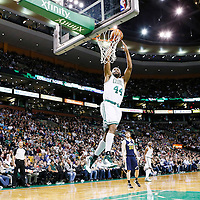 14 November 2012: Boston Celtics power forward Chris Wilcox (44) goes for the alley hoop dunk during the Boston Celtics 98-93 victory over the Utah Jazz at the TD Garden, Boston, Massachusetts, USA.
