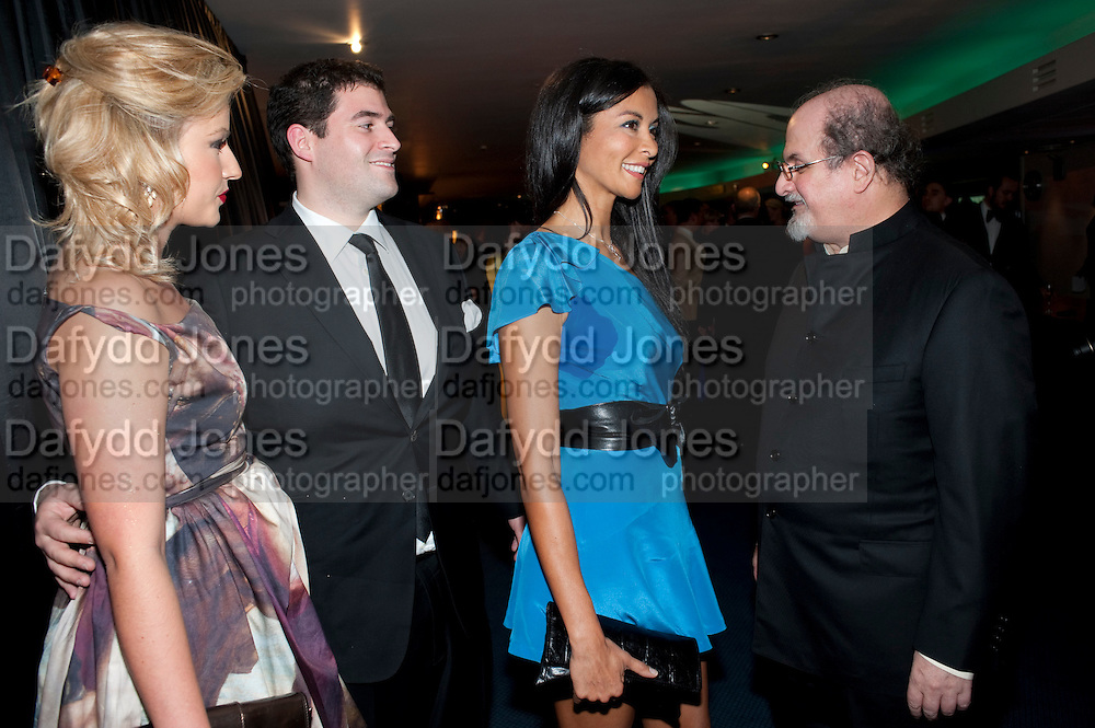 NATALIE COYLE; ZAFAR RUSHDIE; ELLA MONCLARE; SALMAN RUSHDIE, GQ Men of the Year awards. The royal Opera House. Covent Garden. London. 6 September 2011. <br /> <br />  , -DO NOT ARCHIVE-© Copyright Photograph by Dafydd Jones. 248 Clapham Rd. London SW9 0PZ. Tel 0207 820 0771. www.dafjones.com.