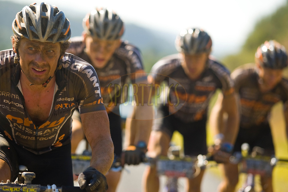 WESTERN CAPE, SOUTH AFRICA -  1 April 2008, Rune Hoydahl leads Etto Hoydahl Teams 1 and 2 during stage four of the 2008 Absa Cape Epic Mountain Bike stage race from Langenhoven High School in Riversdale to Swellendam Primary School in Swellendam, Western Cape, South Africa..Photo by Sven Martin/SPORTZPICS