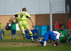 COLCHESTER, ENGLAND - Saturday, April 24, 2010: Tranmere Rovers' Ian Thomas-Moore scores to make it 1-1 against Colchester United during the Football League One match at the Western Community Stadium. (Photo by Gareth Davies/Propaganda)