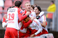 Onderwerp/Subject: FC Utrecht - Eredivisie<br /> Reklame:  <br /> Club/Team/Country: <br /> Seizoen/Season: 2012/2013<br /> FOTO/PHOTO: Anouar KALI (C) of FC Utrecht celebrating his goal with Mike VAN DER HOORN (L) of FC Utrecht and Jan WUYTENS (LL) of FC Utrecht and Edouard DUPLAN (R) of FC Utrecht and Mark VAN DER MAAREL (RR) of FC Utrecht ( 1 - 0 ). (Photo by PICS UNITED)<br /> <br /> Trefwoorden/Keywords: <br /> #02 $94 ±1354626289759 ±1354626289759<br /> Photo- & Copyrights © PICS UNITED <br /> P.O. Box 7164 - 5605 BE  EINDHOVEN (THE NETHERLANDS) <br /> Phone +31 (0)40 296 28 00 <br /> Fax +31 (0) 40 248 47 43 <br /> http://www.pics-united.com <br /> e-mail : sales@pics-united.com (If you would like to raise any issues regarding any aspects of products / service of PICS UNITED) or <br /> e-mail : sales@pics-united.com   <br /> <br /> ATTENTIE: <br /> Publicatie ook bij aanbieding door derden is slechts toegestaan na verkregen toestemming van Pics United. <br /> VOLLEDIGE NAAMSVERMELDING IS VERPLICHT! (© PICS UNITED/Naam Fotograaf, zie veld 4 van de bestandsinfo 'credits') <br /> ATTENTION:  <br /> © Pics United. Reproduction/publication of this photo by any parties is only permitted after authorisation is sought and obtained from  PICS UNITED- THE NETHERLANDS