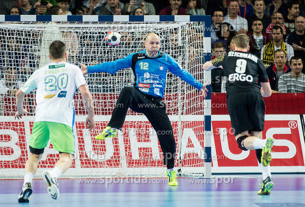 Gorazd Skof of Slovenia vs Tobias Reichmann of Germany during handball match between National teams of Germany and Slovenia on Day 6 in Preliminary Round of Men's EHF EURO 2016, on January 20, 2016 in Centennial Hall, Wroclaw, Poland. Photo by Vid Ponikvar / Sportida