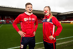 Jamie Paterson of Bristol City and Lucy Graham of Bristol City Women during a photo call at Ashton Gate for Red Nose Day - Ryan Hiscott/JMP - 06/03/2019 - SPORT - Ashton Gate Stadium - Bristol, England - Bristol Sport Red Nose Day