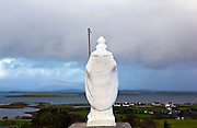 "Statue of St. Patrick overlooking Clew Bay, on the Pilgrim's Path up Croagh Patrick Mountain, Mayo, in the West of Ireland. An important site of pilgrimage, on Reek Sunday"", the last Sunday in July every year, over 15,000 pilgrims climb it. Croagh Patrick is 764 metres (2,507 ft) high."