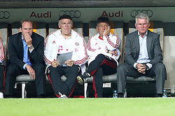 27.07.2011, Allianz Arena, Muenchen, GER, Audi Cup 2011, Finale,  FC Barcelona vs FC Bayern , im Bild Christian Nerlinger (Sportdirektor Bayern) Hermann Gerland (Co-Trainer Bayern) Jupp Heynckes (Trainer Bayern)  // during the Audi Cup 2011,  FC Barcelona vs FC Bayern  , on 2011/07/27, Allianz Arena, Munich, Germany, EXPA Pictures © 2011, PhotoCredit: EXPA/ nph/  Straubmeier       ****** out of GER / CRO  / BEL ******