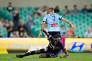 SYDNEY, AUSTRALIA - APRIL 06: Sydney FC defender Michael Zullo (7) and Melbourne Victory defender Thomas Deng (14) fight for the ball at round 24 of the Hyundai A-League Soccer between Sydney FC and Melbourne Victory on April 06, 2019, at The Sydney Cricket Ground in Sydney, Australia. (Photo by Speed Media/Icon Sportswire)