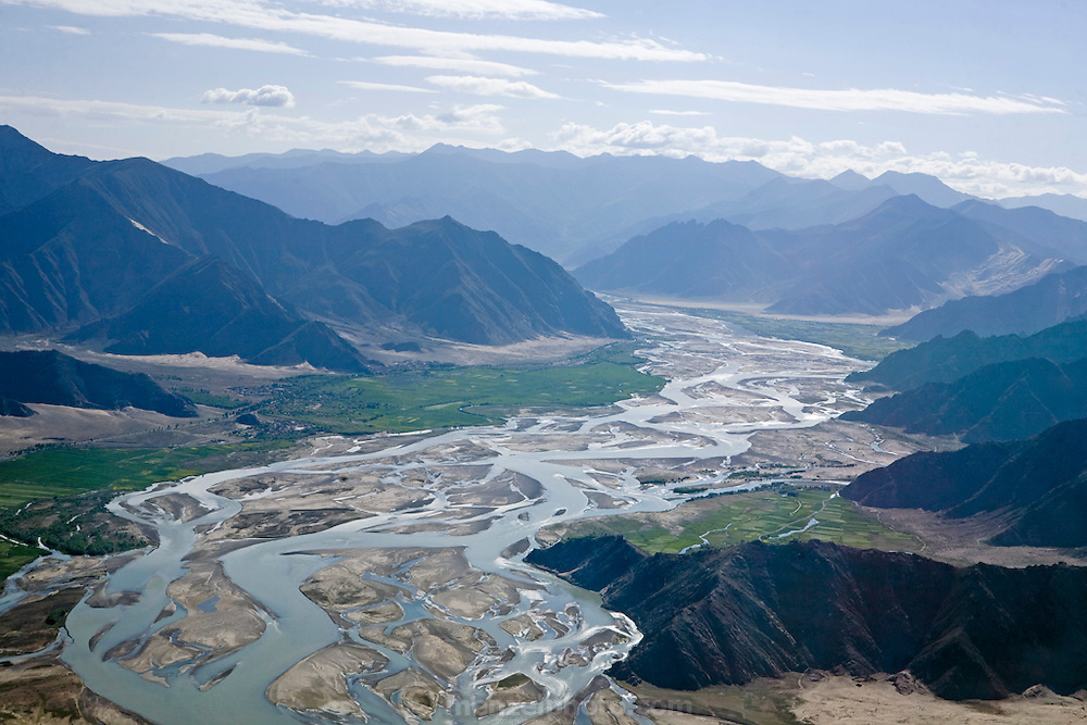 An aerial view of the river valley near Lhasa Tibet, in the Himalayas mountains.