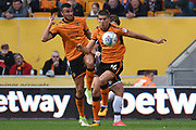 Wolverhampton Wanderers midfielder Conor Coady (16) wins the ball 0-0 during the EFL Sky Bet Championship match between Wolverhampton Wanderers and Barnsley at Molineux, Wolverhampton, England on 23 September 2017. Photo by Alan Franklin.