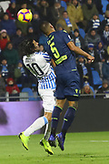 Foto LaPresse/Filippo Rubin<br /> 26/12/2018 Ferrara (Italia)<br /> Sport Calcio<br /> Spal - Udinese - Campionato di calcio Serie A 2018/2019 - Stadio &quot;Paolo Mazza&quot;<br /> Nella foto: SERGIO FLOCCARI (SPAL) VS WILLIAM EKONG (UDINESE)<br /> <br /> Photo LaPresse/Filippo Rubin<br /> December 26, 2018 Ferrara (Italy)<br /> Sport Soccer<br /> Spal vs Udinese - Italian Football Championship League A 2018/2019 - &quot;Paolo Mazza&quot; Stadium <br /> In the pic: SERGIO FLOCCARI (SPAL) VS WILLIAM EKONG (UDINESE)