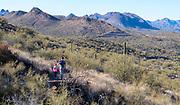 Hiking in Lake Pleasant Regional Park close to Phoenix, Arizona.