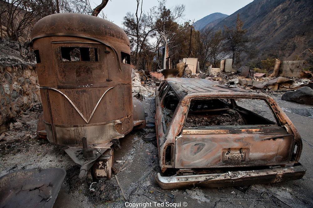 Fire damage in the Big Tujunga are of Los Angeles..