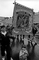 Gascoigne Wood Branch banner. 1991 Yorkshire Miners Gala. Doncaster.
