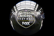 A Thursday night football television banner is shown on the sideline wall before the Houston Texans NFL week 8 regular season football game against the Miami Dolphins on Thursday, Oct. 25, 2018 in Houston. The Texans won the game 42-23. (©Paul Anthony Spinelli)