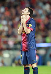Lionel Messi reacts after missing a chance for Barca in the first half.  Barcelona v Real Madrid, Supercopa first leg, Camp Nou, Barcelona, 23rd August 2012...Credit - Eoin Mundow/Cleva Media.