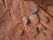 Image of the Hotel Rock ruins, an Anasazi site on Texas Flat, west of the Comb Ridge and north of the North Fork of Mule Canyon, San Juan County, near Blanding, Utah, USA.