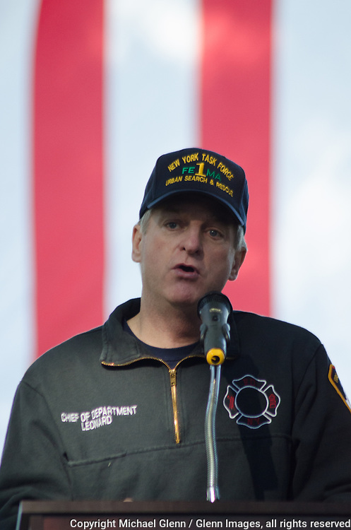 1 Oct 2017 Elmont, New York United States of America // The FDNY 35th Chief of Department iJames E. Leonard speaks to participants at the 3RD annual national stair climb for fallen firefighters at the Belmont Park racetrack  Michael Glenn  /   for the FDNY