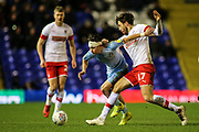 Callum O'Hare of Coventry City (17) is fouled by Matt Crooks of Rotherham United (17) during the EFL Sky Bet League 1 match between Coventry City and Rotherham United at the Trillion Trophy Stadium, Birmingham, England on 25 February 2020.
