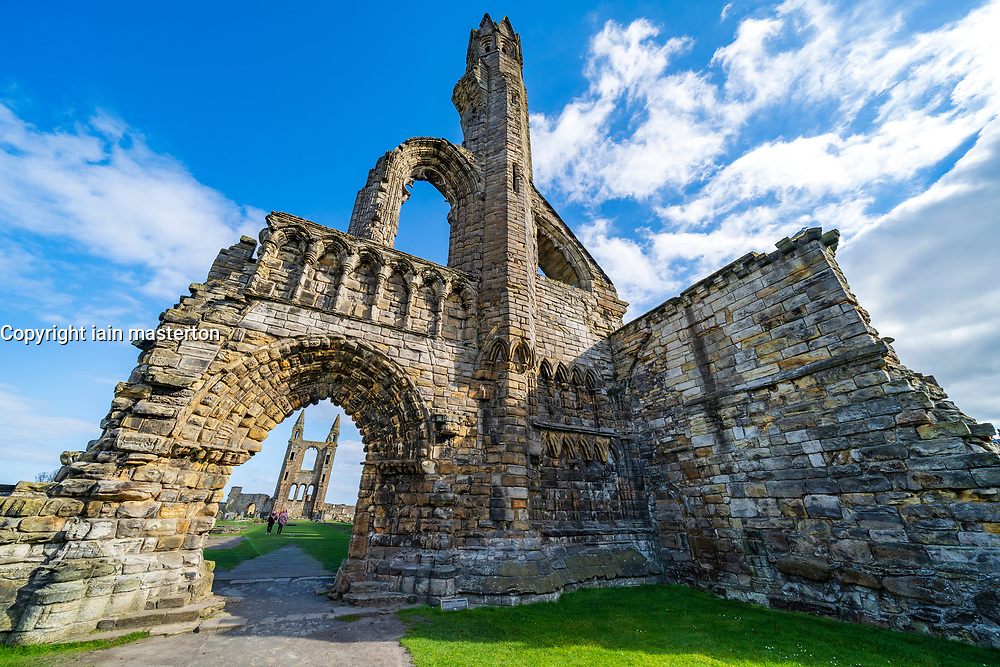 View of ruins of St Andrews Cathedral in St Andrews, Fife, Scotland, UK