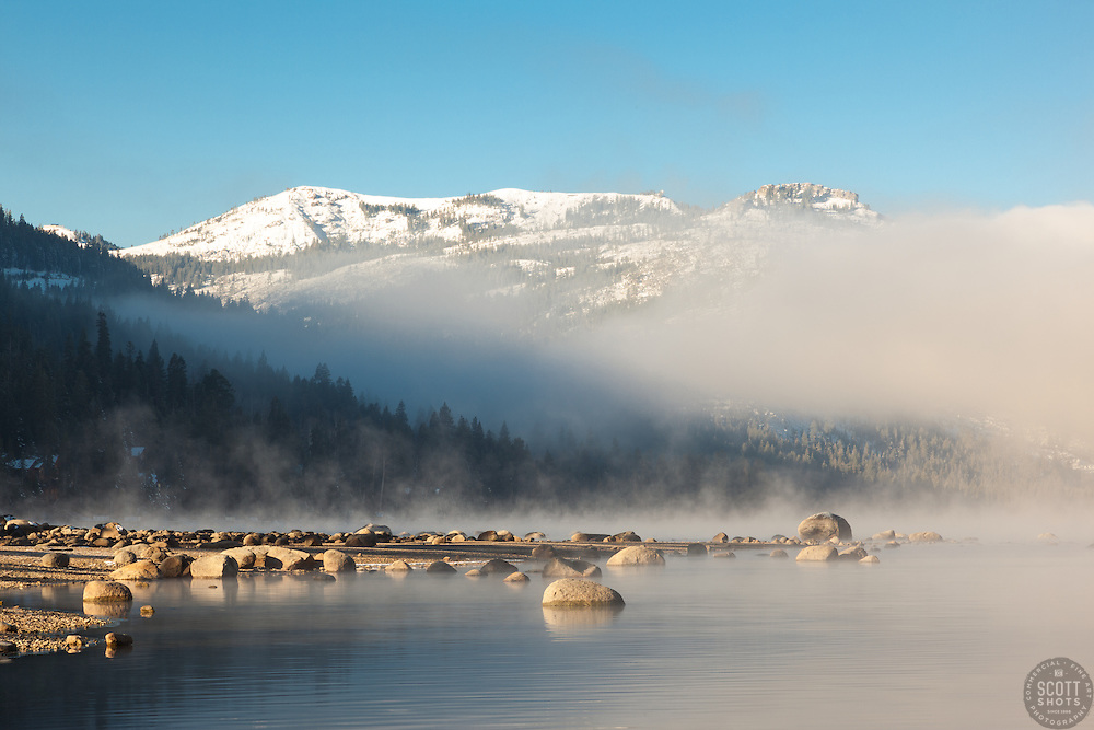 """Donner Lake Morning 14"" - Photograph of a foggy Donner Lake in Truckee, California with Donner Summit in the background."