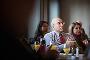 Tom Tafolla applauds the panel discussion during the Silicon Valley Business Journal Power of Manufacturing Breakfast at the Silicon Valley Capital Club in San Jose, California, on January 24, 2017. (Stan Olszewski for Silicon Valley Business Journal)